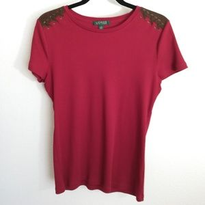 Ralph Lauren Red Tee with Faux Suede Laced Detail